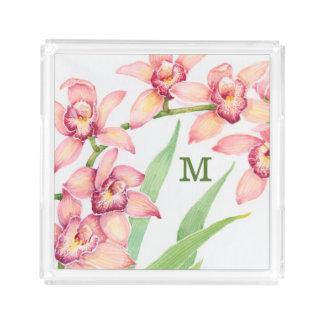 Watercolor-rosa Blumen Acryl Tablett