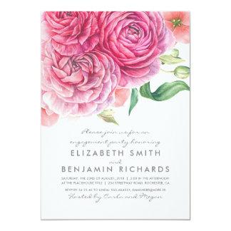 Watercolor-rosa Blumen-elegantes Verlobungs-Party Karte