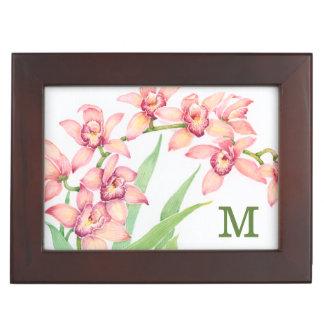 Watercolor-rosa Blumen Erinnerungsdose