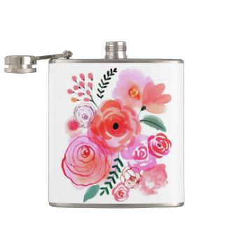 Watercolor-rosa Blumen Flachmann
