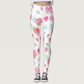 Watercolor-rosa Blumen-Gamaschen Leggings