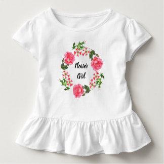 Watercolor-rosa Blumenwreath-Kreis Kleinkind T-shirt