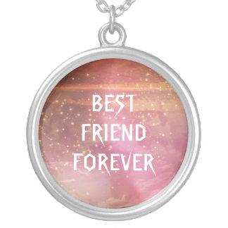 Watercolor-rosa Glitter-beste Freunde für immer Versilberte Kette