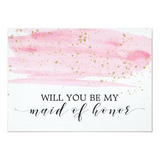 Watercolor-rosa Gold sind Sie meine Trauzeugin Karte