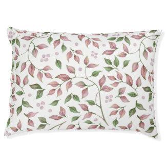 Watercolor-rosa Grün verlässt Beeren Grün | Haustierbett