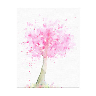 Watercolor-rosa Kirschbaum-Leinwand-Druck Leinwanddruck
