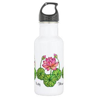 Watercolor-rosa Lotos mit den Knospen u. Blätter Trinkflasche