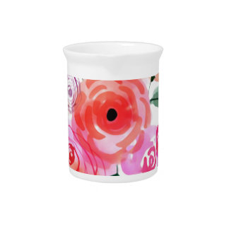 Watercolor-rosa niedliche Blumen Krug