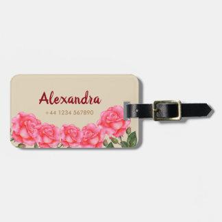 Watercolor-rosa Rosen-Blumenkunst-Illustration Gepäckanhänger