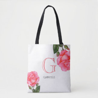 Watercolor-rosa Rosen-Blumenkunst-Monogramm Tasche