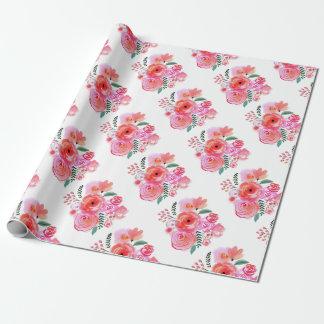 Watercolor-rosa schöne Blumen Geschenkpapier