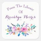 Watercolor-rosa und aquamarines BlumenBuchzeichen Quadratischer Aufkleber