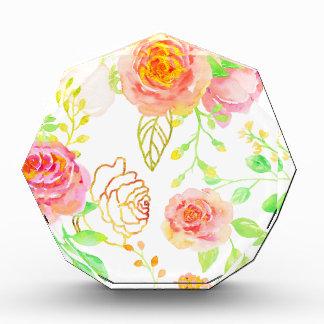Watercolor-Rosa-und GoldRosen-Muster Acryl Auszeichnung