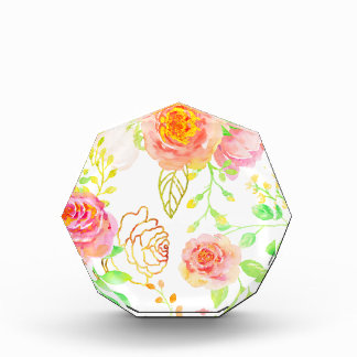 Watercolor-Rosa-und GoldRosen-Muster Auszeichnung