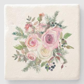 Watercolor-rosa weißes Rosen-Beeren-Grün Steinuntersetzer