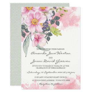 Watercolor-rosa Wildblumen, die Einladung Wedding