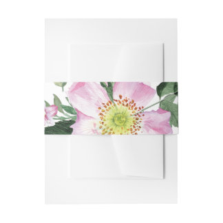 Watercolor-rosa wilde Rosen, die Bauchband Wedding Einladungsbanderole