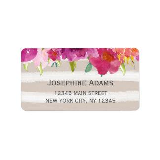 Watercolor-Rosen-Adressen-Etiketten Adressaufkleber