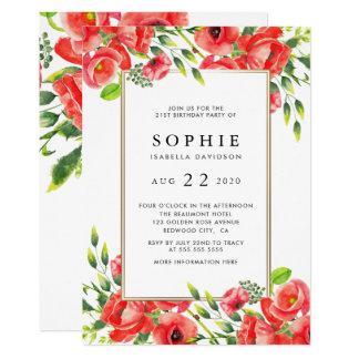 Watercolor-rote Mohnblumen-Blumengeburtstags-Party Karte