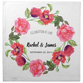 Watercolor-roter und rosa Blumenwreath-Entwurf Stoffserviette