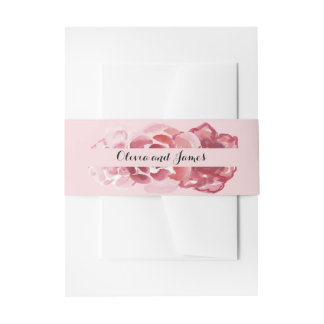 Watercolor-rotes rosa Rosen-Bauch-Band Einladungsbanderole