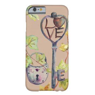 """Watercolor-Schlüssel und Verschluss """"ich Liebe Barely There iPhone 6 Hülle"""