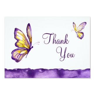 Watercolor-Schmetterling danken Ihnen kardiert Karte