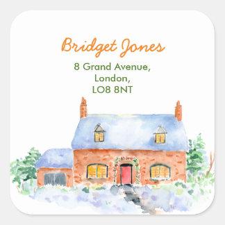 Watercolor-Schnee-Hütten-Adressen-Etikett Quadratischer Aufkleber