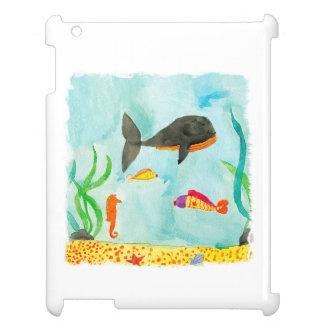 Watercolor-Seeansicht mit Wal und Seepferd iPad Hülle