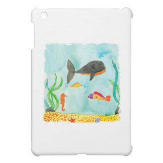 Watercolor-Seeansicht mit Wal und Seepferd iPad Mini Hülle