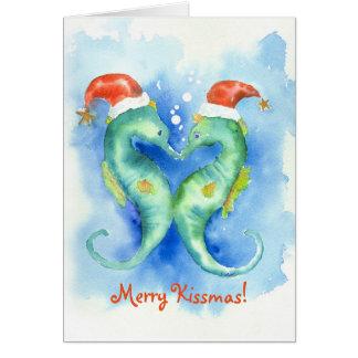 Watercolor-Seepferd-Weihnachtskarte Karte