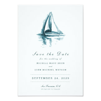 Watercolor-Segeln-Boots-Save the Date Karte