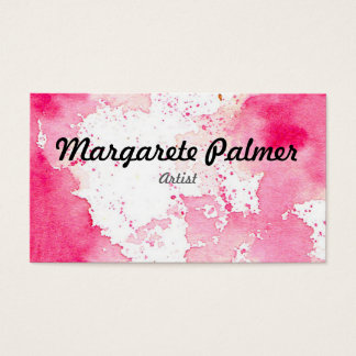 Watercolor Splat Buisness Card - Pink Visitenkarten