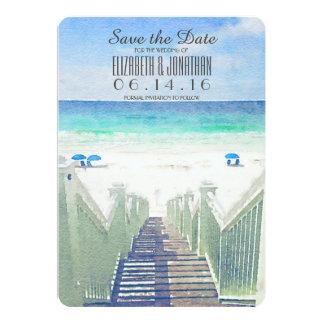 Watercolor-Strand-Pier | tropisch Save the Date 12,7 X 17,8 Cm Einladungskarte