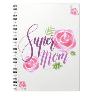 Watercolor-Supermamma-Akzent-Rosen Notizblock