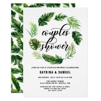 Watercolor-tropische Blätterwreath-Paar-Dusche 12,7 X 17,8 Cm Einladungskarte