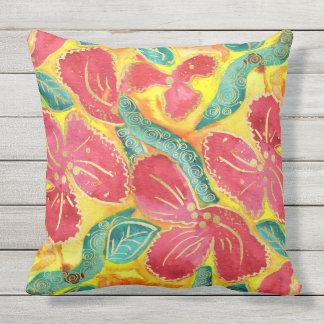 Watercolor-tropischer roter Hibiskus-GoldGlitter Kissen Für Draußen