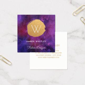 Watercolor-und Imitat-Goldfolien-Kreis | Quadratische Visitenkarte