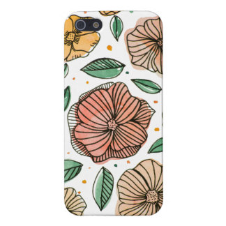 Watercolor- und Tinten-Blumen - Vintage Palette iPhone 5 Etui