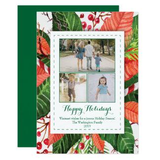 Watercolor verlässt Fotokarte des Weihnachten drei 12,7 X 17,8 Cm Einladungskarte