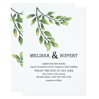 Watercolor verlässt Grün-Hochzeit Karte