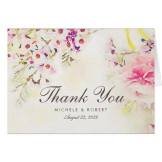 Watercolor Vintages BlumenBoho danken Ihnen Mitteilungskarte