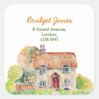 Watercolor-Vintages Hütten-Adressen-Etikett Quadratischer Aufkleber