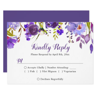 Watercolor-violette lila Blumenhochzeit UAWG Karte