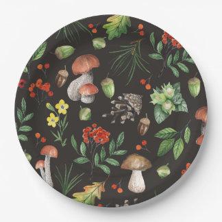 Watercolor-Wald verlässt Pilzen Blumen | Pappteller