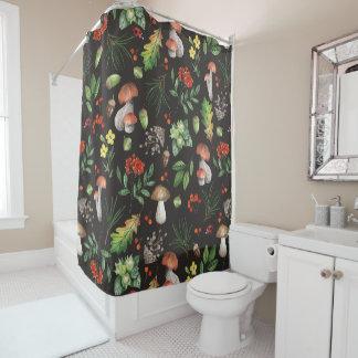Watercolor-Wald vermehrt sich Blätter-Blumen | Duschvorhang