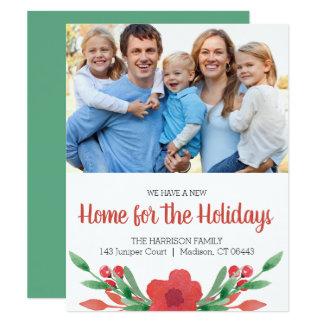 Watercolor-WeihnachtsblumenFoto-neue Adresse Karte