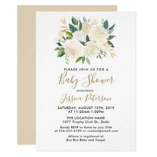 Watercolor-weiße Blumen-Baby-Duschen-Einladungen Karte