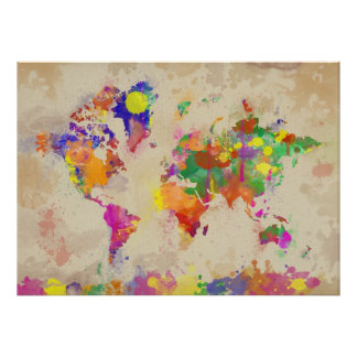 Watercolor-Weltkarte auf alter Leinwand Posterdrucke