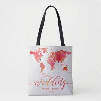 Watercolor-Weltkarten-Hochzeit in Tasche